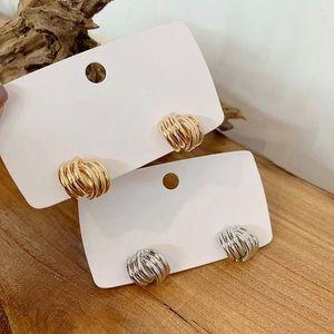 18k Gold | Silver Interlocking Line Stud Earrings